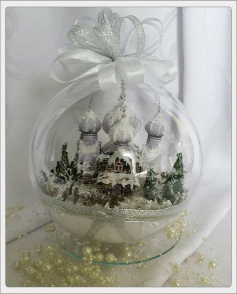 Bombka 3D z zimowym krajobrazem cerkwi - Art-Emi - Dekoracje: bombki