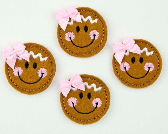 GINGERBREAD FACE - Embroidered Felt Embellishments / Appliques - Brown  (Qnty of 4) SCF4120. $4.60, via Etsy.