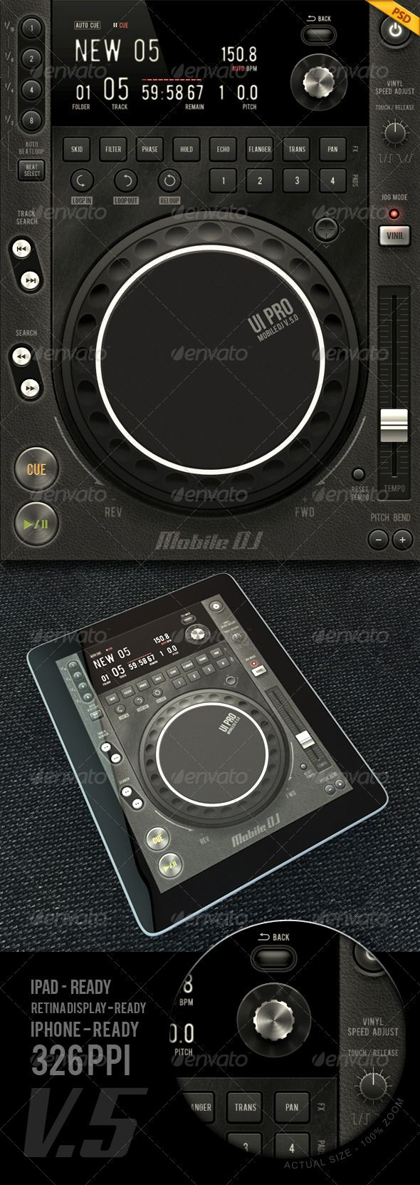 Tablet/Phone User Interface PROFESSIONAL SET V . 5.0 / MOBILE DJ by diegomonzon