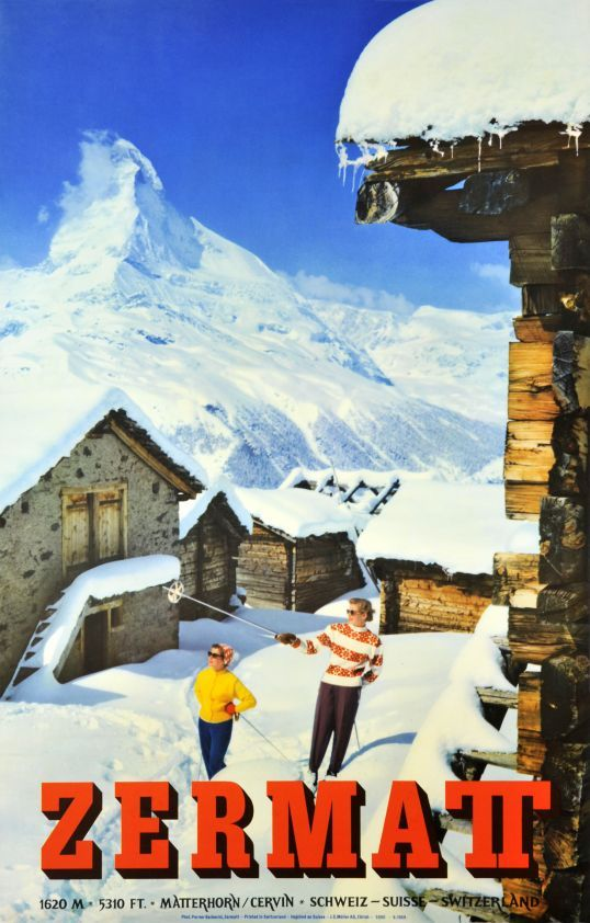 "Zermatt, Matterhorn Cervin Schweiz Suisse Switzerland. (by Perren - Barberini Photographers / 1959) Skiing in Zermatt in front of the Matterhorn, The ""Cervin"" in French. The Zermatt travel office produced only a few wintersport poster."