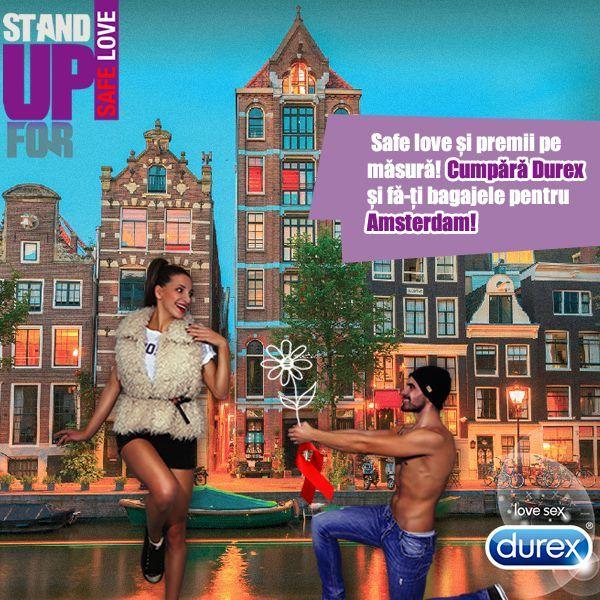 http://bit.ly/StandUpForSafeLove2014  Cumpara orice produs Durex, inscrie bonul fiscal in aplicatia noastra si poti castiga unul dintre cele 3 city-breaks @Amsterdam! Esti pregatit pentru #SafeLove si super fun?