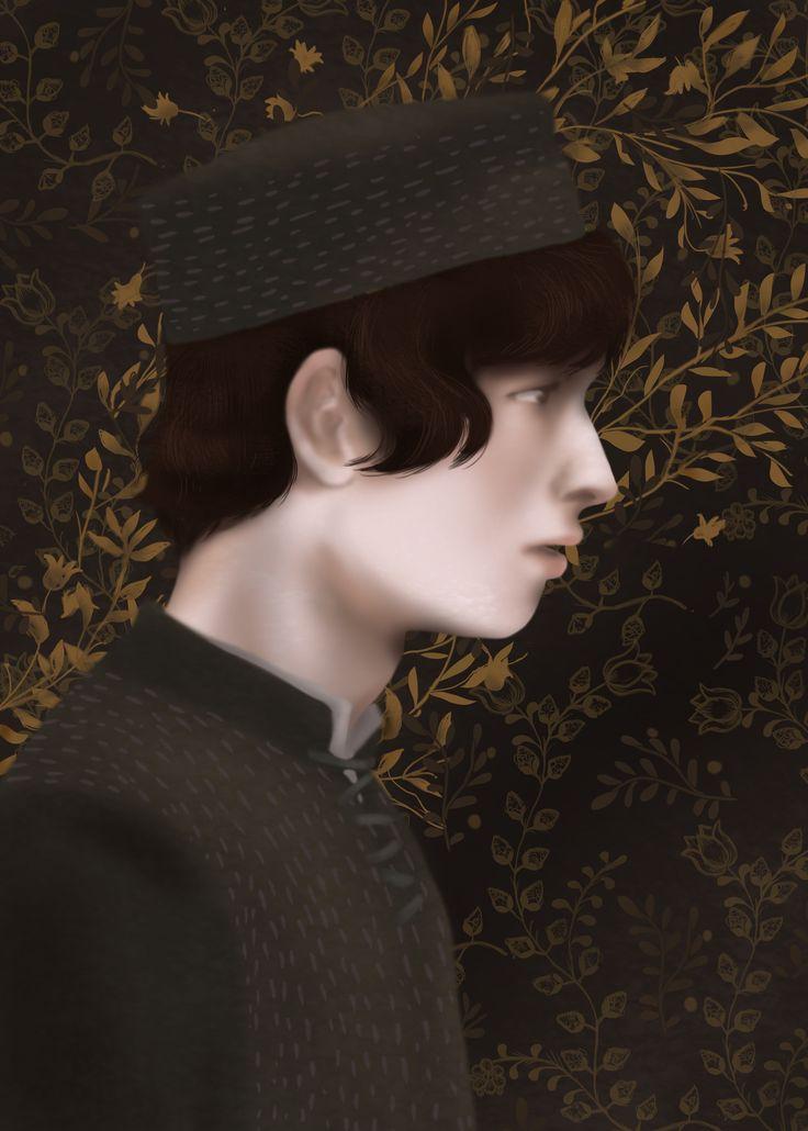 "Romeo portrait  from ""Romeo and Juliet"" by William Shakespeare,  Illustration Paulina Wyrt GREG Publishing House, 2016"