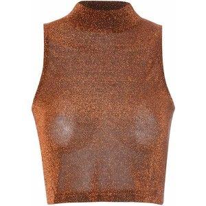 Rust Lurex Polo Neck Crop Top
