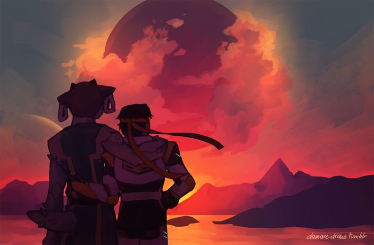 """tell me, what is the sky like?"" (Sunset by Damare on DeviantArt) - Shay and Hunk"