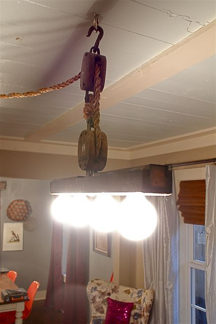 1000 images about pulley purposes on pinterest auction for Decorating with pulleys