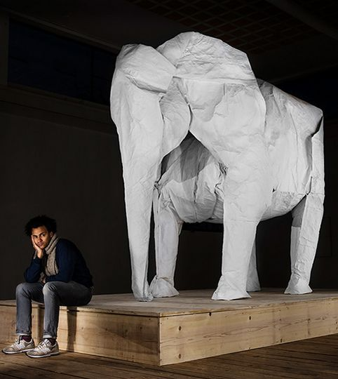 sipho mabona folds life-sized elephant from single paper sheet