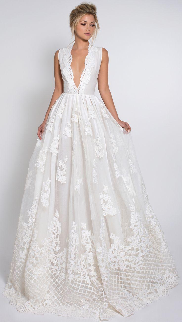 gorgeous wedding dress with deep v neckline