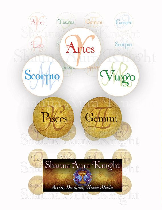 Astrology 12 Zodiac Signs 1 inch circles Digital Collage Instant Download Printables Scrapbook Jewelry Making Resin Pendants