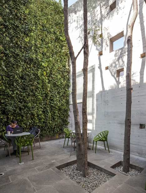 Beautiful courtyard inside the Elena Garro Cultural Center Renovation by Fernanda Canales Arquitectura.