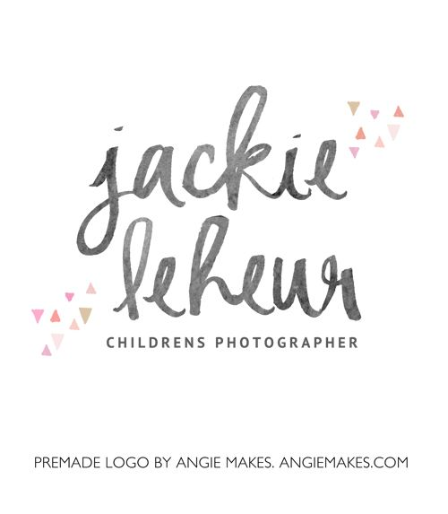 This Watercolor Text Logo Features Hand Painted Watercolor Text and Cute Hand Drawn Triangles. Perfect to Brand Your Business!