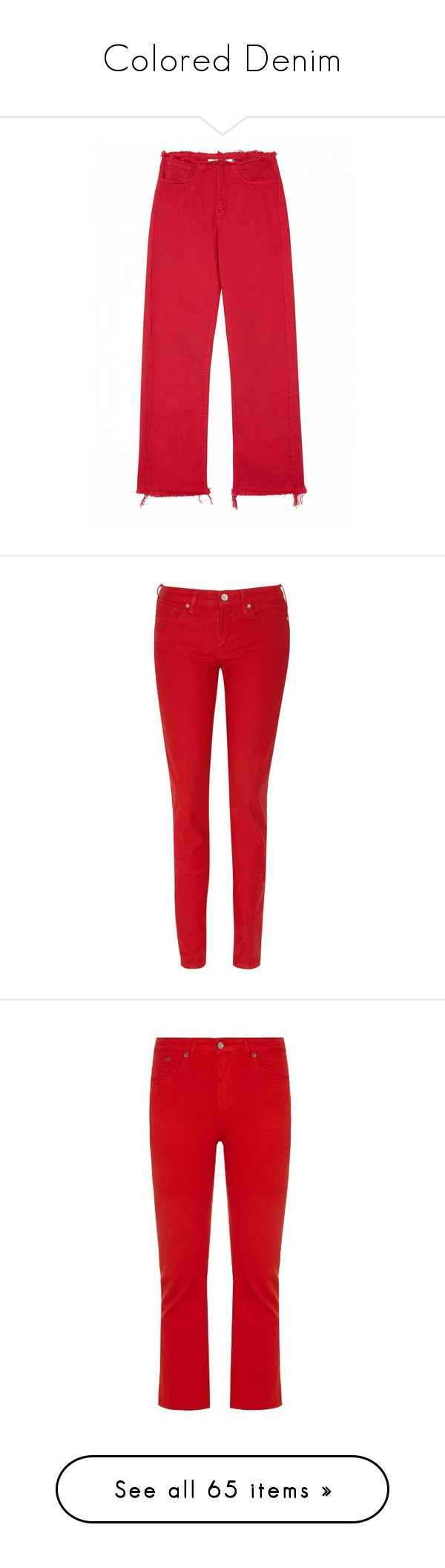 """Colored Denim"" by lence-59 ❤ liked on Polyvore featuring jeans, wide-leg jeans, red denim jeans, denim jeans, red jeans, pants, leather jeans, skinny leg jeans, skinny jeans and red leather skinny jeans"