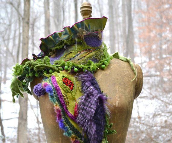 Patchwork SHAWL/ SCARF /Wrap with ruffles, faux fur, silk flowers and felted leaf