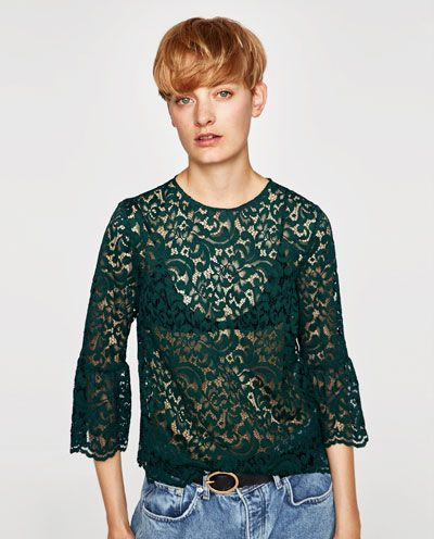 Image 2 of LACE TOP WITH FRILLED SLEEVES from Zara