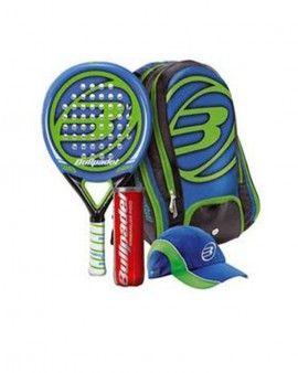 Pack Pala Bullpadel Radix Azul y Verde SR Magnífico Pack de pádel para regalar, con pala Bullpadel Radix, bolso, bote de bolas Bullpadel Premium y visera