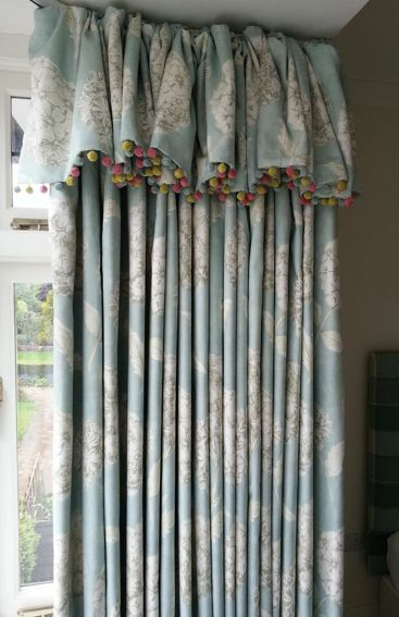These beautiful bedroom curtains were finished with an attached valence heading finished with Susie Watson Pom Pom trim to add interest and colour!