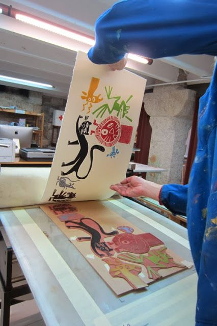 Marc Taeger. Lino cut plates being printed
