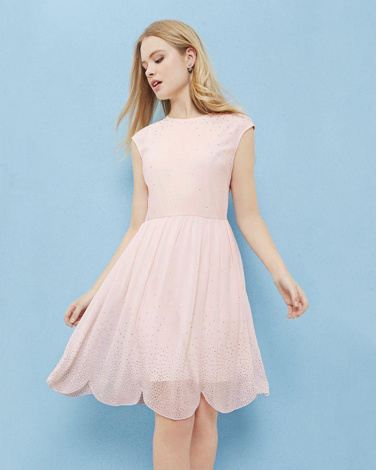 Embellished scallop hem dress - Baby Pink | Dresses | Ted Baker UK