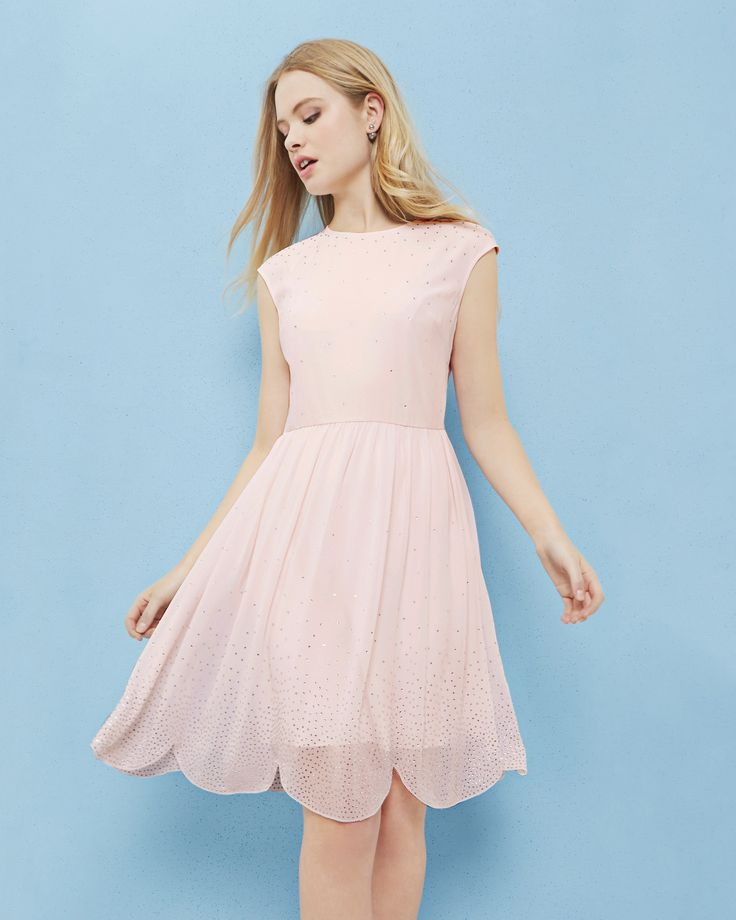 Embellished scallop hem dress - Baby Pink | Dresses | Ted Baker