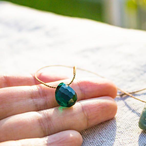 Natural Quartz Necklace Peacock Emerald Green Quartz