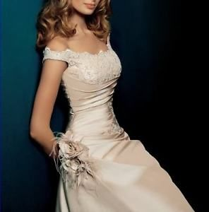 Champagne-A-line-Bridesmaid-Wedding-Dress-Prom-Ball-Evening-Gown-Size-6-16