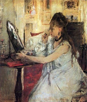 Young woman powdering her face by Morisot. Order from DEKORAMI as a poster, canvas print, mural. Zamów jako obraz na płótnie, plakat lub fototapetę na DEKORAMI.pl