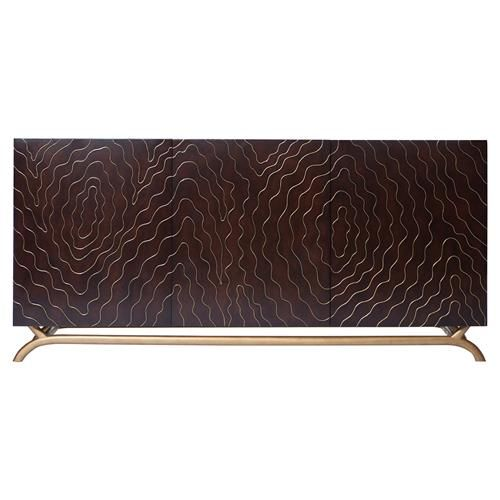 Organic modern style takes a seriously luxurious turn in the wood grain pattern created by hand inlayed brass on a dark wood backdrop.  Distinctive and seriously stylish this console has just about every contemporary style covered from Deco to Asian and beyond.