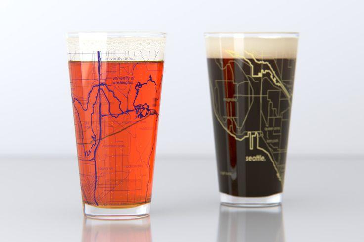 Seattle, WA - University of Washington - College Town Map Pint Glass Set