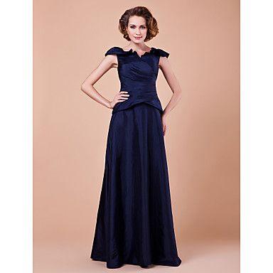 Lanting+Bride®+А-силуэт+Большие+размеры+/+Миниатюрный+Платье+для+матери+невесты+В+пол+Короткий+рукав+Тафта+-+Перекрещивание+–+RUB+p.+6+469,38