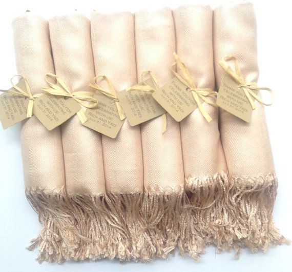 Set of 6 Champagne Shawsl with Favor Tags Pashmina by YadisCloset, $66.00- perfect bridesmaid gift