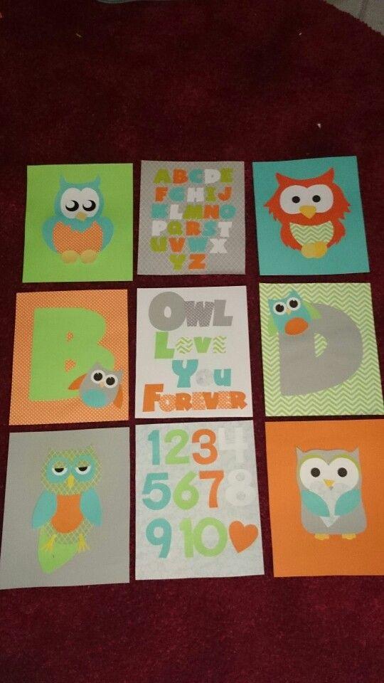 Owl nursery decor #owl #nursery #grey #orange #teal #green #artwork #nursery decor