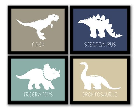 INSTANT DOWNLOAD, Dinosaur Wall Art, Set of 4, Nursery Art, Kids Art, Boys  Room, Dinosaur Art, Playroom, Printable Wall Art, Modern Baby Art