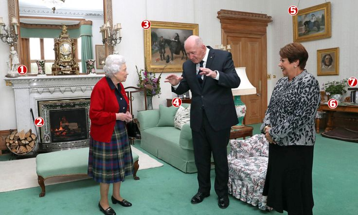 The Queen's love of heirlooms is apparent in this picture taken in the library during a private audience with Sir Peter Cosgrove, the Governor General of Australia and his wife, Lady Cosgrove.