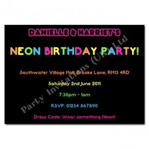 Children's Neon Party Invitation | Personalised Party Invites £6