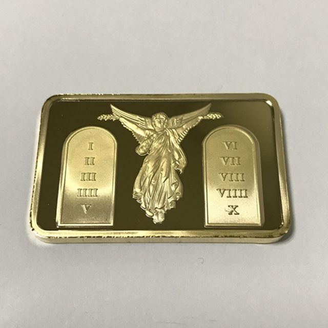 2 Pcs Sample Order The Jesus Commandents Bullion Bar 1 Oz 24k Gold Plated Ingot Badge 50 Mm X 28 Mm Home Decoration Bars Review Bullion 24k Gold Ingot
