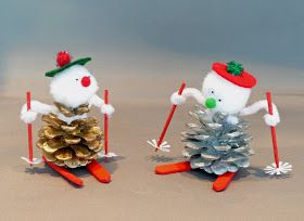 How to Make a Pinecone Skier - reminds me of Grandma Joyce's homemade decorations for the boys