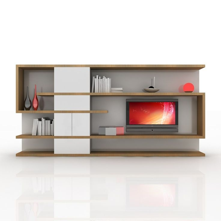 modern tv wall unit 3d obj