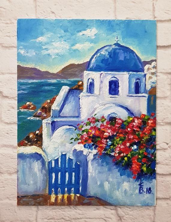 Santorini Original Oil Painting Sunny Greece Scenery Painting Mediterranean Sea Painting Santorini Seascape Painting Mediterranean Landscape Oil Painting Abstract Oil Painting Nature Greece Painting