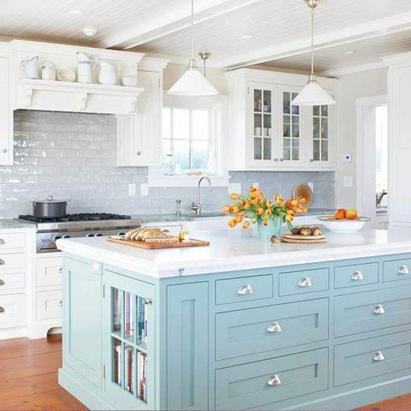 Cuisine Blanche Et Bleu Cuisine Bleu En 2019 Cuisine
