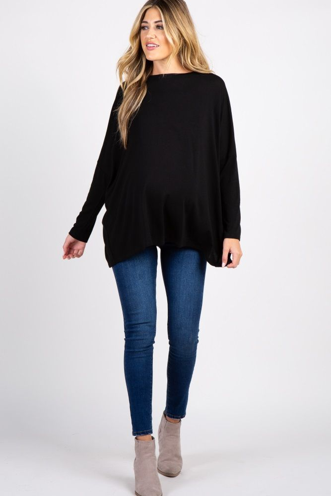 9b917376a04e1 Black Tulip Open Back Dolman Sleeve Maternity Top