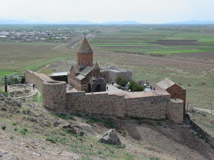 Khor Virap Monastery at the foot of Mount Ararat, 42 kilometers south of Yerevan, is associated with the conversion of Armenia to Christianity in 301 AD. The present complex dates mostly from the 17th century.