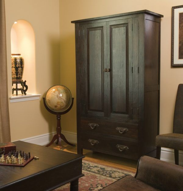 Image of Hypnotic Wood Corner Cabinet with Black Cabinet Paint Color and Antique Drawer Bail Pulls also Antique World Globe with Wood Stand