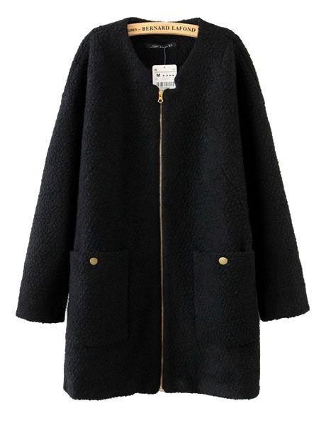Pure Color V-Neck Ladies Long Coat