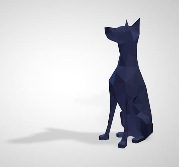 3d Papercraft Dog Dog 3d Pdf Template Papercraft Animals Low
