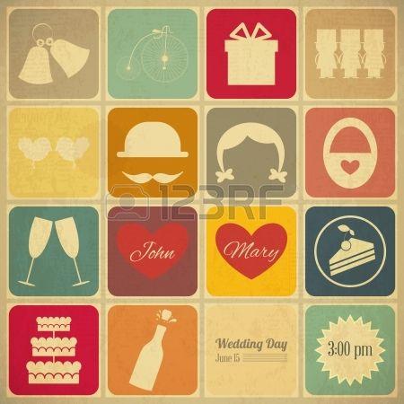 Hochzeits-Einladung in Old Retro Graphics Design Vintage Design, quadratischen Format, Wedding Set Vector Illustration Stockfoto