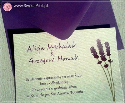 """Zaproszenia ślubne z kolekcji """"Lavenda""""  Lavender Wedding Invitation  www.SweetPrint.pl"""