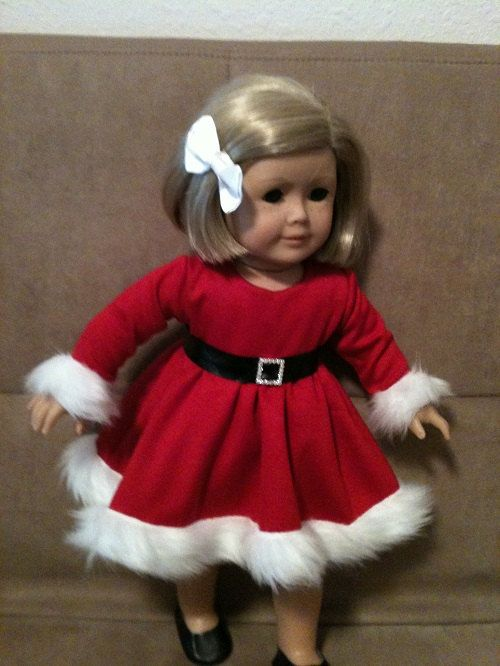 18 inch Doll (modeled by American Girl)  Santa Dress and accessories