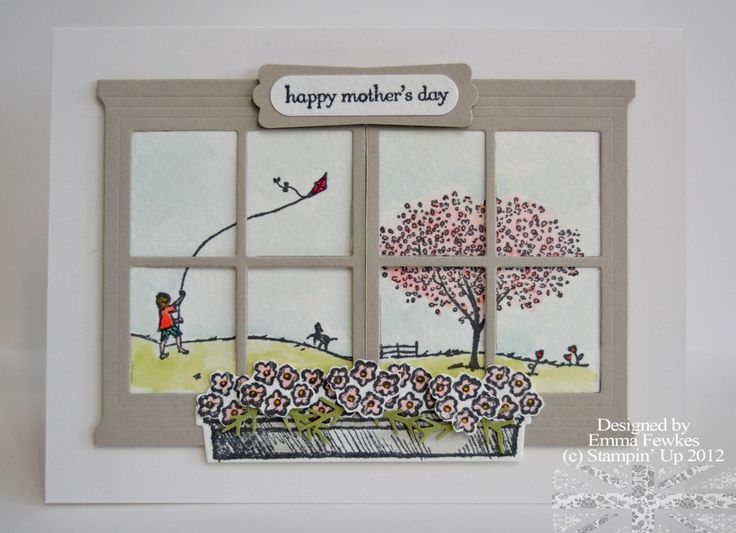 It's Mother's Day next Sunday back in England. Inspiration came from Amanda Bates, a link to her original card and more pics can be found [url=http://ladynthestamp.blogspot.com/2016/02/mothers-day-window.html]here[/url].