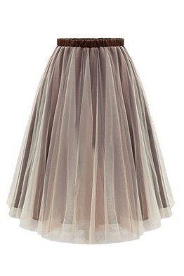 Бежевая юбка-миди с прозрачным верхним слоем