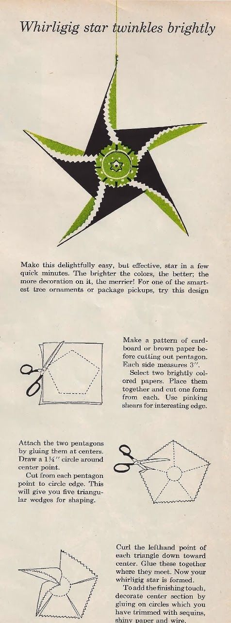 Just thought I would share a craft from 1955....how to make a whirligig paper ornament. Remember...crafts were a lot different (hokey)...
