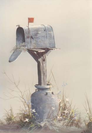 My art teacher in college called this mailbox/ barn art and tried to get us to break away from this form of work. But I kinda like it!